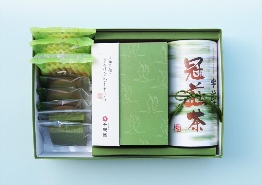 老舗茶舗の京都 宇治抹茶焼き菓子と宇治煎茶の詰合せ